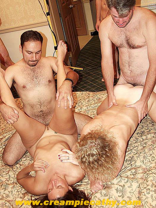 creampie eating orgy